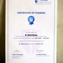certificate of training Dr shruti